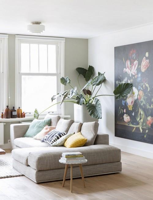 trang trí phòng khách, thiết kế phòng khách, mẫu phòng khách đẹp, cây xanh trong phòng khách