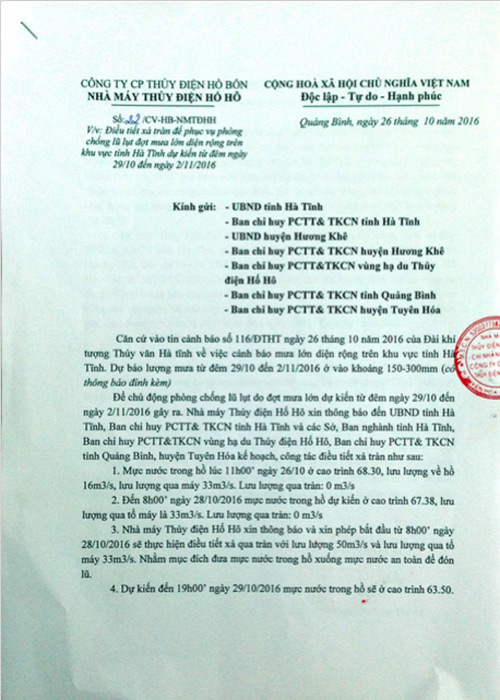 Thủy điện Hố Hô: 'Đã gửi công văn xin phép xả nước'