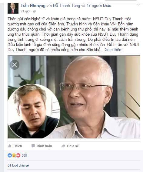 Diễn viên Duy Thanh sụt 20kg vì ung thư đã di căn