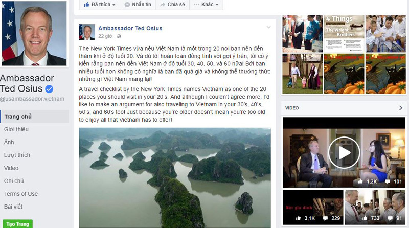 Trên Facabook, Đại sứ Mỹ tại Việt Nam Ted Osius mời gọi mọi người đến VN
