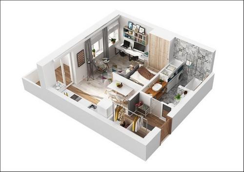 20161107165116 nha dep 1 Chả cần nhà to, căn hộ 40m² này đã đủ để đáp ứng mọi nhu cầu của một gia đình 3 người