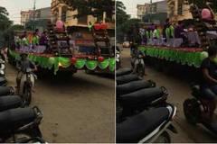 Lễ ăn hỏi trên xe tải chạy bon bon ở Vĩnh Phúc
