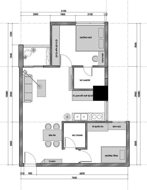 Gia đình 4 người sống thoải mái trong căn nhà rộng 58m2