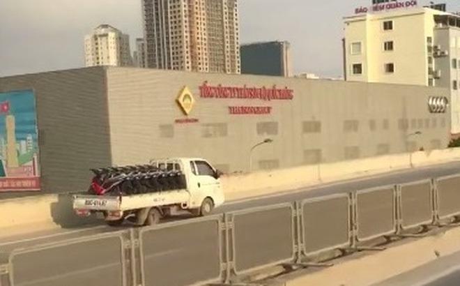 Hà Nội: Xe tải đi ngược chiều lao vun vút trên đường cao tốc