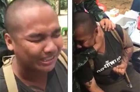 Chàng tân binh lực lưỡng bật khóc khi bị tiêm