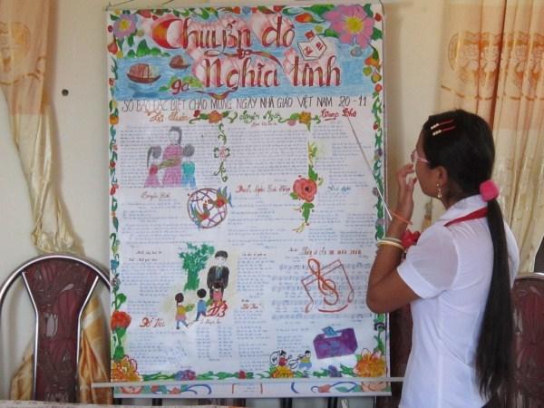 Xem báo tường Ngày 20-11 nhớ lại thời đi học