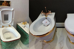 Bí mật toilet dát vàng, gắn saphia trong nhà đại gia Hà Thành