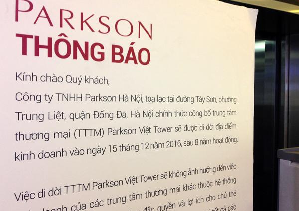 Parkson Thái Hà đóng cửa sau 8 năm: Rút khỏi Hà Nội?