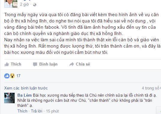 Chủ facebook đăng ảnh TQ gán cho quan chức Hà Tĩnh xin lỗi