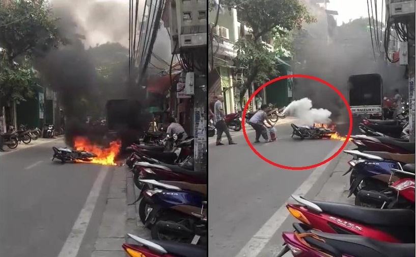 Phụ nữ U60 dập lửa cứu xe cháy khi thanh niên bỏ chạy