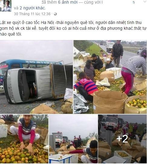 Xe tải bị lật, người dân thu gom hoa quả giúp tài xế