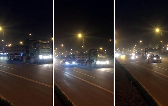 Hoảng hồn xe tải đi giật lùi trên Đại lộ Thăng Long