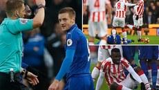 """Vardy bị đuổi, Leicester hòa """"điên rồ"""" với Stoke"""