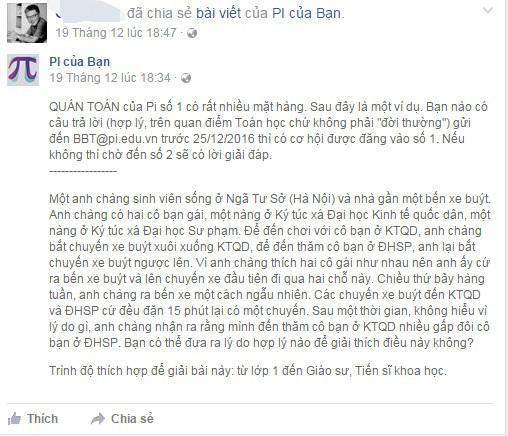 GS Ngô Bảo Châu đố toán trên Facebook