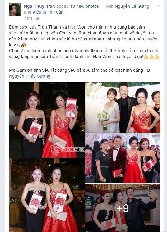 Dàn sao Việt chúc mừng hạnh phúc Trấn Thành - Hari Won