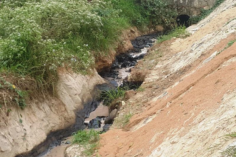 Dòng nước đen hôi thối chảy ra từ công ty gạch men