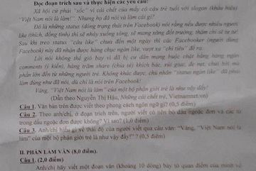 Đưa nội dung báo VietNamNet vào đề kiểm tra học kỳ