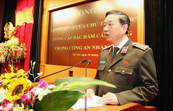 Bộ công an, bộ trưởng Tô Lâm, thăng hàm cấp tướng, thượng tướng