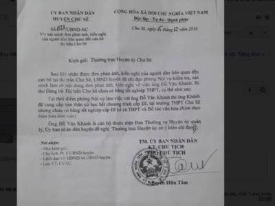 Làm rõ vụ Bí thư thị trấn Chư Sê chưa có bằng cấp 3