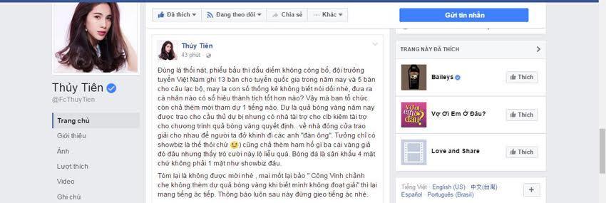 Công Vinh 'văng' khỏi giải QBV, Thủy Tiên nói 'mát' Ban tổ chức