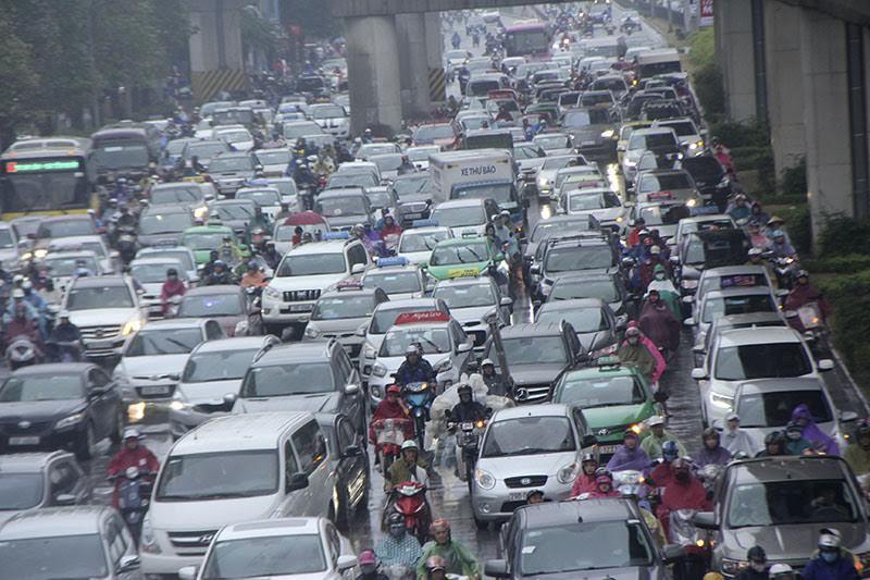 tắc đường, hà nội mưa rét, ùn tắc, tắc đường nghiêm trọng