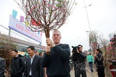 Đại sứ Mỹ hân hoan vác đào ở chợ hoa Hà Nội