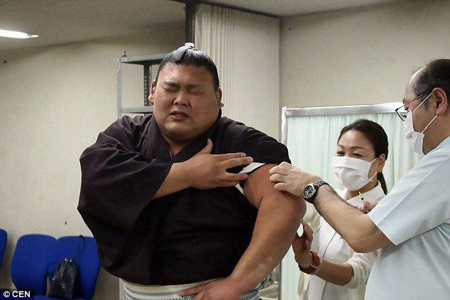Võ sĩ sumo mếu máo khi bị tiêm