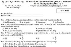 Đề thi thử nghiệm môn Vật lý kỳ thi THPT quốc gia năm 2017
