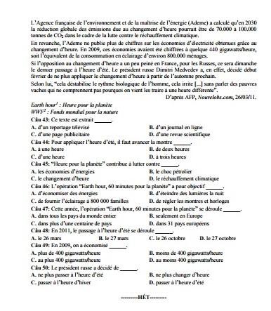 Đề thi thử nghiệm môn Tiếng Pháp kỳ thi THPT quốc gia năm 2017