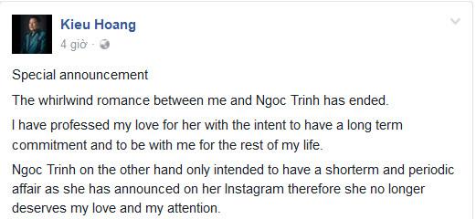 Hoàng Kiều tuyên bố kết thúc chuyện tình với Ngọc Trinh