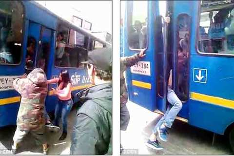 Kẻ móc túi trên xe buýt bị kẹp giữa cửa, giải tới đồn cảnh sát