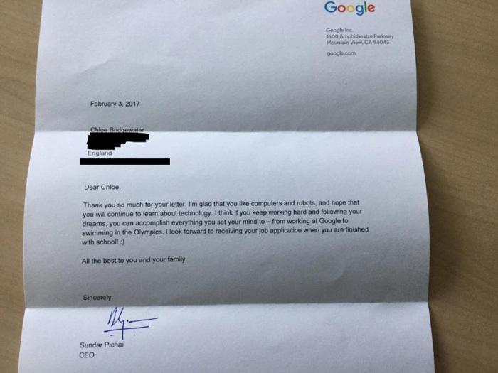 thư ứng tuyển, Google