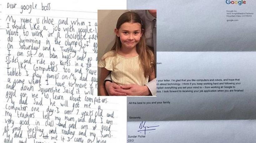 Bé 7 tuổi bất ngờ được sếp Google hồi đáp thư xin việc