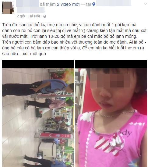 Bé gái bị mẹ đánh chửi thậm tệ trong siêu thị vì làm mất gói kẹo