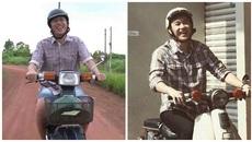 Hoài Linh mặc quần đùi cười sung sướng lái xe máy cũ