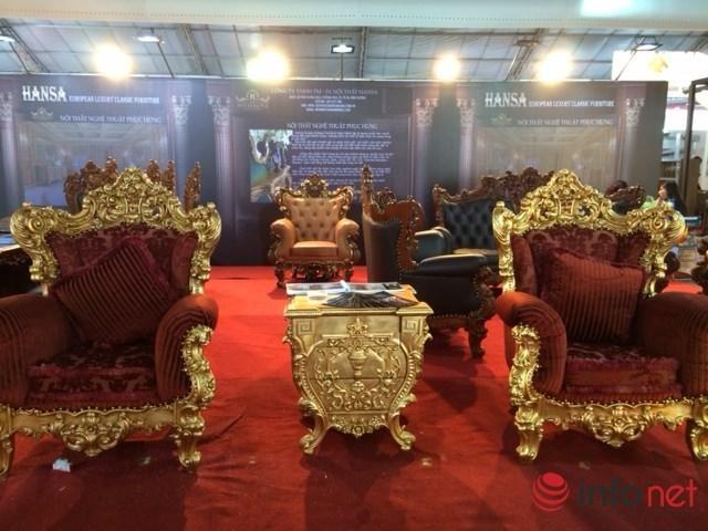 những bộ bàn ghế dát vàng ở Việt Nam, nội thất đẹp, nội thất dát vàng