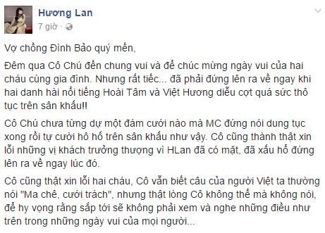 Danh ca Hương Lan bỏ về vì Việt Hương diễn hài thô tục