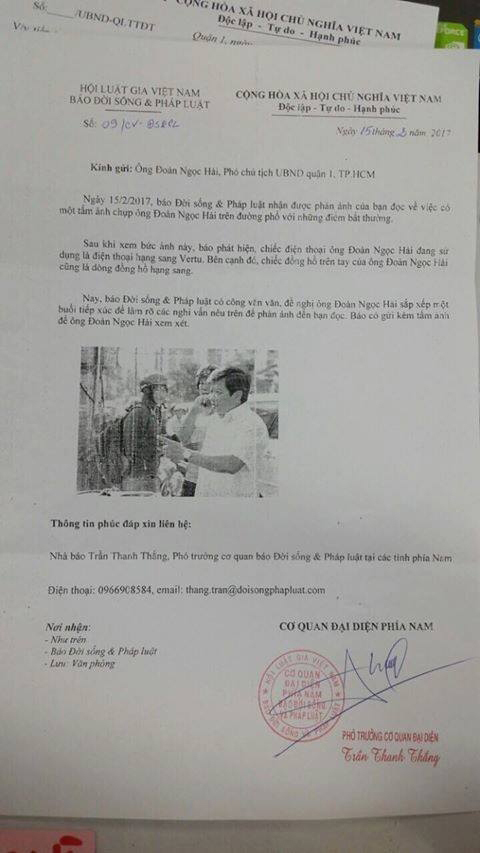 Đề nghị thu Thẻ nhà báo người gửi CV cho ông Đoàn Ngọc Hải
