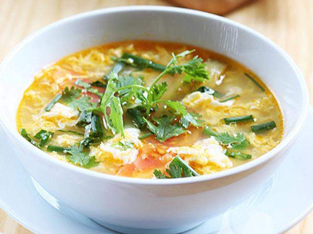 Món ngon, canh trứng cà chua, ẩm thực, hướng dẫn nấu ăn