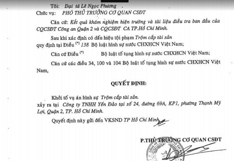 Đại gia Sài Gòn bị trộm, trộm đột nhập biệt thư của đai gia, vụ trộm tài sản khủng ở công ty Yến Đảo