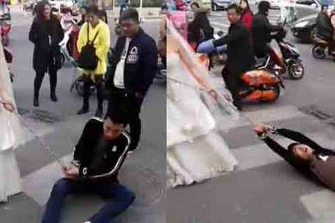 Chú rể bị lôi xềnh xệch giữa phố vì trốn đám cưới