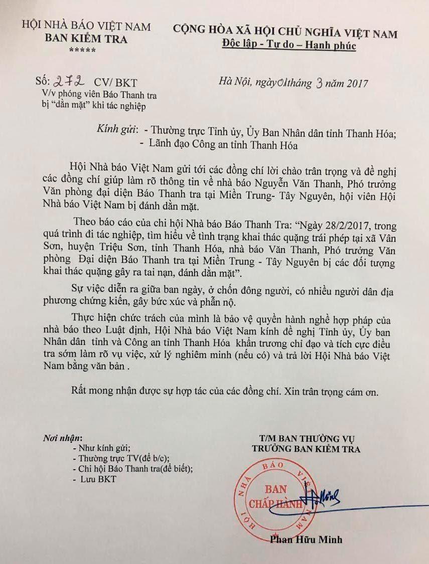 Thanh Hóa làm rõ vụ phóng viên báo Thanh tra bị đánh