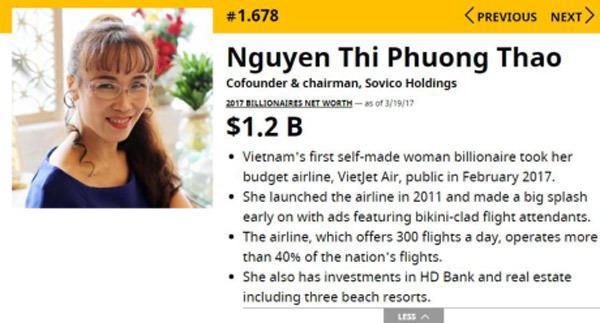 Nguyễn Thị Phương Thảo,tỷ phú USD,tỷ phú việt,đại gia Việt,Vietjet Air
