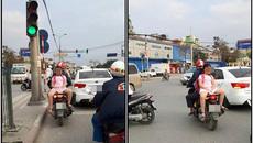 Hình ảnh 2 bố con trên phố khiến nhiều người lo lắng