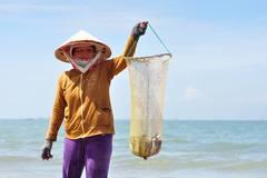 Tuyệt chiêu ném đá, lùa cá vào bờ kiếm tiền triệu mỗi ngày