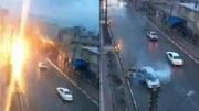 Ô tô bị luồng sét cực mạnh đánh trúng, khói mù mịt