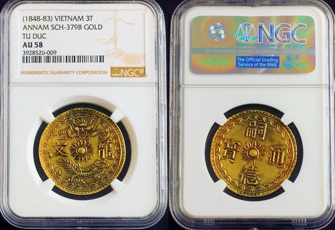 Đồng xu vàng thời vua Tự Đức giá 199 triệu đồng trên eBay