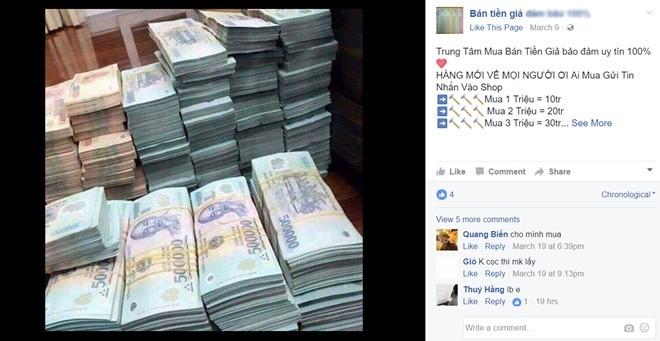 Bán tiền giả công khai trên Facebook