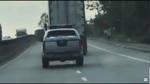Xe container lạng lách, chèn ép xe CSGT trên quốc lộ 1A