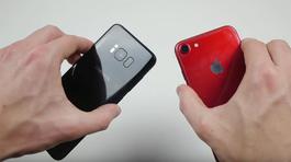 Galaxy S8 đánh bại iPhone 7 màu đỏ khi thả rơi tự do?